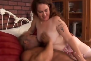 cute corpulent milf rhonda likes the smack of cum