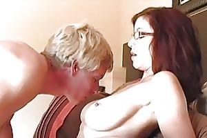 lustful momma with glasses riding hard bazooka on