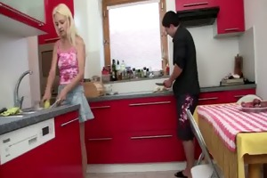 wife comes in and sees her bf copulates her old