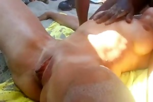 in nature beach - squirting wife