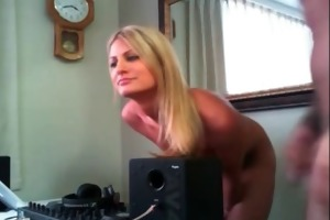 blond milf engulfing ramrod and playing with wet