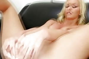 charming golden-haired milf with big thighs