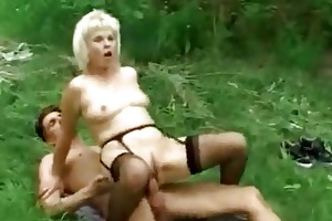 golden-haired granny outdoor