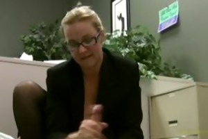 employee receives masturbated by his lustful lady