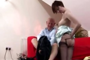 older british lady in nylons over lads knee