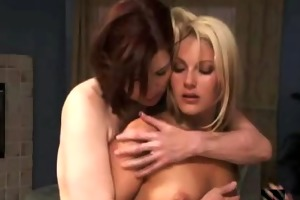 lewd brunette hair aged and hot golden-haired