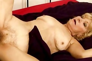 granny acquires her curly vagina drilled hard