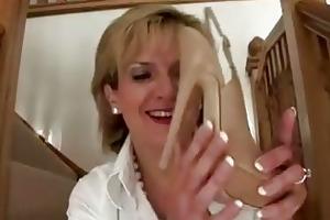 older femdom brit shoe posing stripped