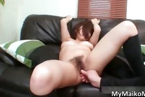 wicked oriental dark brown hoe receives a sex-toy