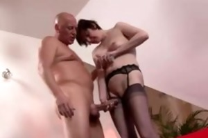 older british lady in nylons copulates chap with
