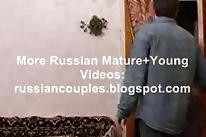 slender russian older lady fucking with a lad