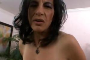 lusty brunette hair mommy masturbating herself